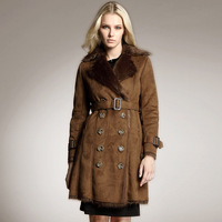 2013 winter women's british style double breasted fur collar fur medium-long compound outerwear