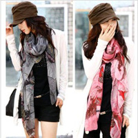 Free Shipping Autumn and winter new Fashion Women's print scarves begonia Flower Scarves Ink Style Chiffon Neck Scarf Shawls