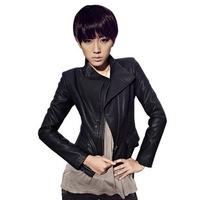 2013 women Slim leather jacket PU leather collar Europe locomotive washed leather jacket, motor PU coat free shipping