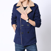 Hot-selling berber fleece woolen overcoat male  lapel province sidekicks Wool blended coat  khaki blue Army Green black 4 colors