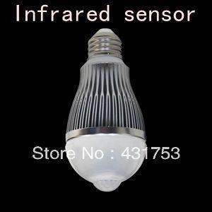 New!! 7W 620--690 LM E27 85-260V LED Infrared Motion Sensor White Light Bulb Lamp Motion Led Bulb voice control