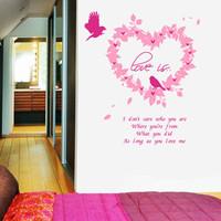 Tv wall stickers sofa heart wreath qt843