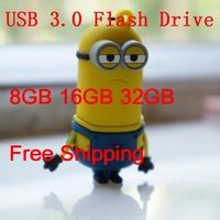 Free Shipping Despicable Me 2 Cartoon USB 3.0 Pen Drive 8GB 16GB 32GB USB 3.0 Flash Stick USB Flash Drive