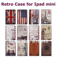 Fashion Retro Big Ben Eiffel Tower British style usa flag Stand Magnetic pu leather case smart cover for iPad Mini and mini 2 3