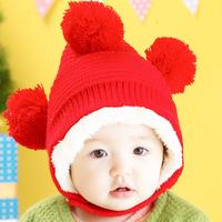 free shipping 3481 princess winter child hat plush hat ball style cap baby hat lei feng cap