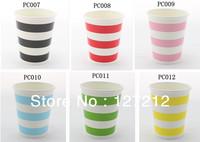 2160PCS (12PCS/PACK) 8 OZ Chevron Polka Dot Stripe Paper Cups Red Pink Blue Lime Green Yellow Black
