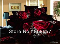 red sexy rose flower print comforter girls bedding queen full quilt/duvet cover 400TC cotton bedclothes bed set woven bedspreads