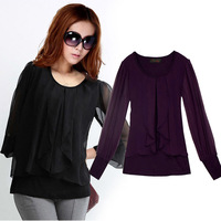tassel Long sleeve bigger sizes Loose t-shirts lace chiffon clothing for women