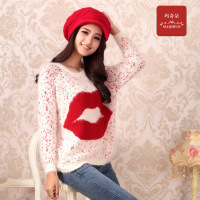 Macchiato sweater outerwear female autumn and winter thick sweet shirt mohair sweater loose