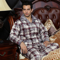 Winter long-sleeve male cotton-padded thickening coral fleece sleepwear noble plaid casual lounge set