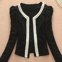 Free shipping ladies pearl princess sleeves round neck short jacket suit black / pink / khaki / red / white