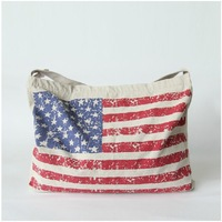 Eco-friendly Flag Pattern Canvas Street Casual Style Shoulder Bag Messenger Bag Eco-friendly Shopping Bag