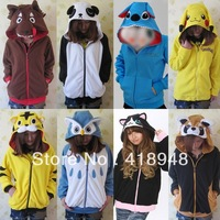 Fashion New Cotton Jersey Cosplay Costume Unisex Adult Animal Hoodie Hoody Zip Coat Lovely Tiger Owl Panda Stitch Pikachu Cat