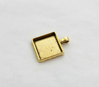 FREE SHIPPING 10PCS Antiqued Gold 25mm Square Pendant Trays Cabochon Settings #23439