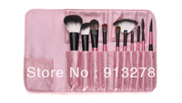 Free shipping  10PCS Cosmetic Brush Set With Lightning Pink Leather Pouch