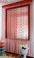 Peach Heart Line Shade Curtain Fashion Heart-Shaped Curtain Porch Partition -RED