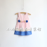 Small female child princess dress beautiful rose linen handmade disk flowers female child tank dress