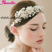 Free Shipping Floral Pearl And Rhinestone Bridal Princess Tiara Crown Double Bands Golden Wedding Tiara