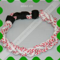 Triple Braided Titanium Germanium Ionic Sports Bracelet custom Cord rubber Ends Clasp