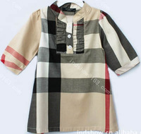 Free shipping sleeve plaid dress fashion children's clothing kid's one-piece dress