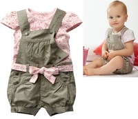 Free shipping baby susper set denim baby pants t-shirt belt with bowknot belt piece set