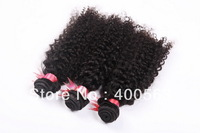 5A virgin curly hair,unprocessed brazilian human remy hair,1b natural color 4pcs/lot free shipping