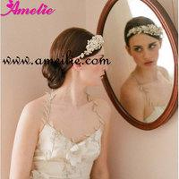 2pcs/lot Free Shipping Floral Pearl And Rhinestone Bridal Princess Tiara Crown Double Bands Golden Wedding Tiara