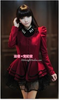 2013 Fashion Winter Women Puff Sleeve round neck lotus leaf skirt tutu suit Woolen coat Black/ Red Slim Coat Free shipping