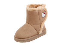2013 winter thermal liner thickening cotton-padded shoes kt cat velcro child snow boots foot wrapping