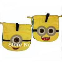 Free shipping 30/Lot 2013 New Cute 2 Style Despicable Me Minion Drawstring Bag Birthday Party Favor Candy