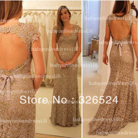 Latest design vestidos de fiesta customized backless scoop neck cap sleeves Lace evening dress 2014  BO2538