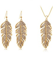 Bohemia elegant earrings necklace The wings of love necklace  leaves eardrop sets FREE SHIPPING