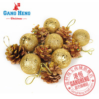 Free Shipping(48pcs) 3.5cm Gold  xmas ball and pine cone Pineco Christmas tree Decoration ornaments