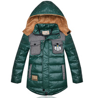 2013 Winter Children Kid Duck Down Coat Jacket Boys Winter Outerwear Parkas PU Leather Design TT5352