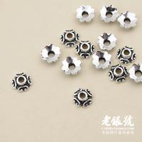 Thai silver 925 6mm four leaf grass thalami petals diy bracelet necklace accessories pure silver a1