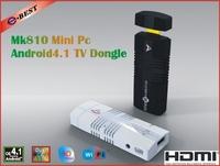 Free Shipping  New!! MK810 Android 4.1.2 Mini PC TV Stick Amlogic AML8726_MX 1.6GHz Cortex A9 Dual core 1GB RAM 4GB 3D TV Box
