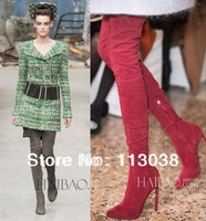 2013 Newest Fashion Women Sexy Red Thigh High Over Knee High Heel Boots Free Shipping