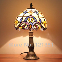 "Tiffany Style Baroque Small Table Lamp Handedcrafted  Lighting Bar Desk Lamp Stained Glass Lampshade  8""W"