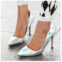 Fashion Women's Cocopark Sexy Colorful Neon Laser Silver Bling OL Pointed Toe High-heeled Wedding Shoes Leather Plus Pumps