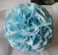 40cm 4pcs/lot sky blue rose ball wedding flower ball decoraiton