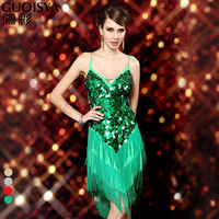 Free shoping Performance wear racerback bandage deep V-neck spaghetti strap tassel skirt Latin dance costume