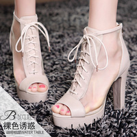 Moolecole sandals casual net fabric open toe thick heel high-heeled boots women's shoes 1380