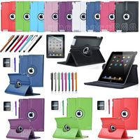360 Rotating Magnetic Leather Case Smart Cover Stand for ipad 2/ ipad3 / ipad4 Screen Protector + Stylus 50pcs/Lot free shipping