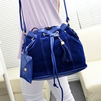 2013 autumn women's handbag scrub bucket bag vintage casual tassel shoulder bag messenger bag