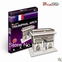 Free Shipping 3D Jigsaw puzzle Triumphal Arch 3D puzzle Children Eductional Toys Christmas Gifts Famous world Building