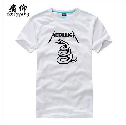 Metallica Rock roll band Men's Fashion Casual White T-Shirts %100 Cotton Shorts Sleeves Sports Custom Grey T-Shirt T-115421(China (Mainland))