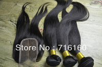5A GRADE,Middle Part Silk Cambodian Top Closure 3.5x4 With Straight Human Hair Unprocessed Virgin hair,#1B,queen hair products