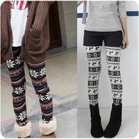 2013 autumn fashion all-match snowflake deer print ankle length Pants Legging for women