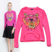 Classic 2013 tiger head computer embroidery slim hoodies sweatshirts women 2colors S,M,L Free shipping