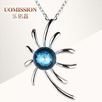 Hot-selling double the ocean colored glaze necklace 925 pure silver pendants female silver